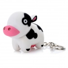 Cow Style LED Light Plastic Keychain - White + Black + Red (3 x AG10)
