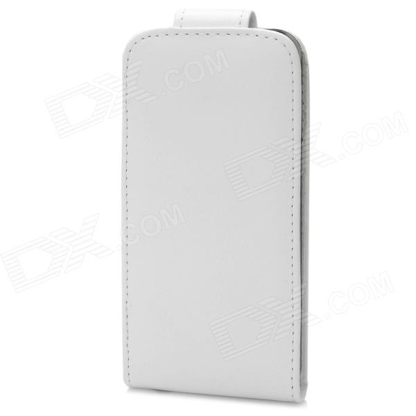 Protective PU Leather Top Flip-Open Case for Iphone 5 - White omo protective pu leather flip open case for iphone 4 4s white