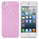 3D Embossed Hollow Castle Style Protective Plastic Back Case for iPhone 5 - Pink