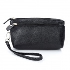 Fashion PU Zippered Wallet Purse - Black