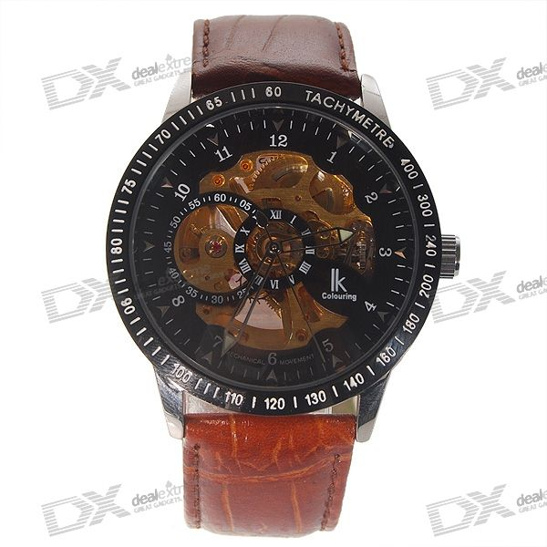 Leather Band Self-Winding Mechanical Wrist Watch