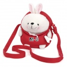 Babytalk A0027 Little Navy PP Cotton + Plush Rabbit Cartoon Bag w/ Strap - Red