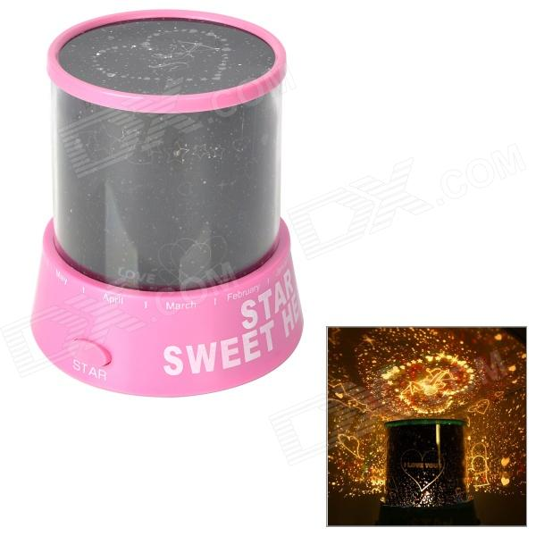 Romantic Sweet Heart Star Projector Light w/ 12 Months Rotation - Pink + Black (3 x AA)