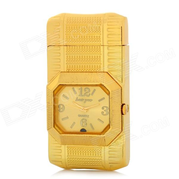 2-in-1 LED Quartz Watch Style Windproof Metal Butane Jet Lighter - Golden (1 x 377)