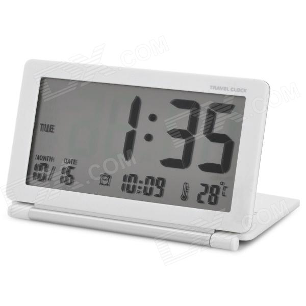 "AQ-141 3,8 ""LCD Reisewecker w / Snooze / Temperatur / World Time Table - White (1 x CR2025)"