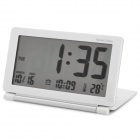"AQ-141 3.8"" LCD Travel Alarm Clock w/ Snooze / Temperature / World Time Table - White (1 x CR2025)"
