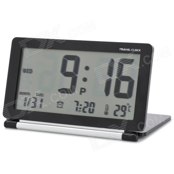 "AQ-141 3,8 ""LCD Reisewecker w / Snooze / Temperatur / World Time Table - Schwarz (1 x CR2025)"