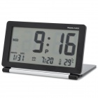 "AQ-141 3.8"" LCD Travel Alarm Clock w/ Snooze / Temperature / World Time Table - Black (1 x CR2025)"