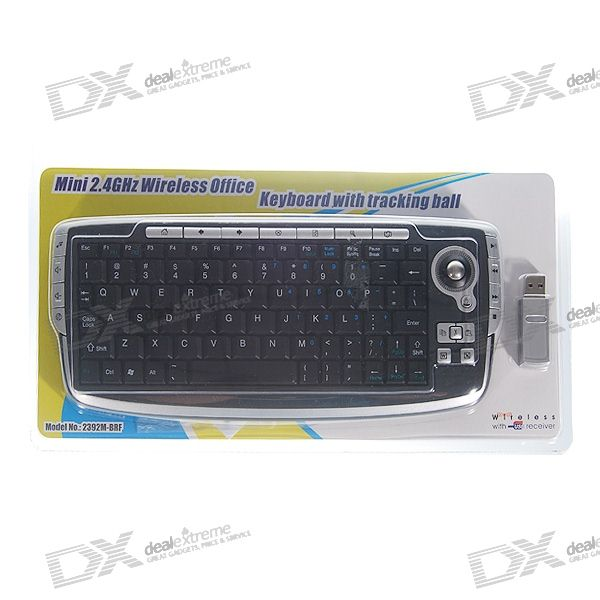 Mini 78+19 Keys USB 2.4GHz RF Wireless Programmable Multimedia Keyboard with Trackball Mouse