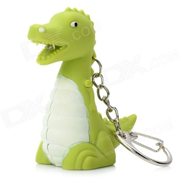 Dinosaur Style LED Light Plastic Keychain - Green (3 x AG10) cute hippo style plastic key chain w led white light green 3 x ag10