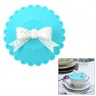 Elegant Bow Knot Style Silicone Cup Cover - Blue + White