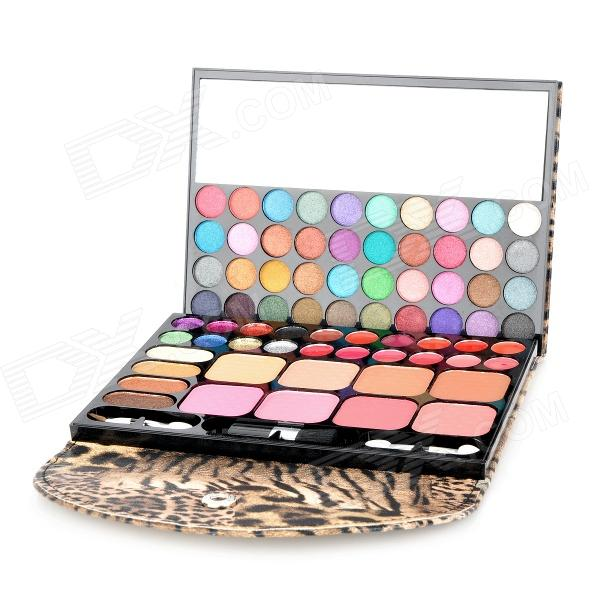 Leopard Pattern Case Professional 72-in-1 Cosmetic Makeup Kit - Yellow + BlackEye Shadow or Eye Line<br>Material:Form  ColorPinkQuantity:Refill ColorBlack,Red,YellowPacking List<br>