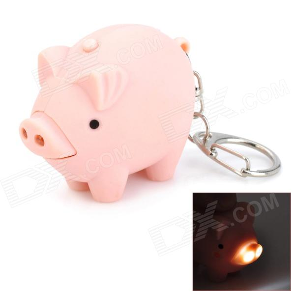 Cute Pig Style 2-LED White Light Flashlight Keychain w/ Sound Effect - Light Pink (3 x AG10) bowknot cat style keychain w white led light sound effect grey pink 3 x ag10