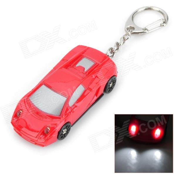 Sport Car Style 2-LED White Light Flashlight Keychain w/ Sound Effect - Red (4 x LR41) lovely pig style white light 2 led keychain w sound effect beige deep pink 3 x ag13