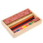 Creative 20-Patterns DIY Wooden Stamp - Multicolored