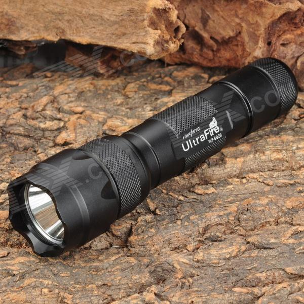 UltraFire WF-502B 800lm 3-Mode Memory White Light Flashlight - Black (1 x 18650) - DX18650 Flashlights<br>Brand: UltraFire Model: WF-502B Material: Aluminum alloy Emitter Brand: Cree LED Type: XM-L BIN: T6 Color: Cool White Number of Emitters: 1 Voltage Input: 3.6~4.2V Battery Configuration: 1 x 18650 (not included) Circuitry: 2200mA Brightness: 800lm Runtime: 1 hour Number of Modes: 3 Mode Arrangement: Hi &amp;gt; Lo &amp;gt; Fast strobe Mode Memory: Yes Switch Type: Reverse clicky Switch Location: Tailcap Lens: Coated glass lens Reflector: Aluminum Smooth / SMO Strap Included: No Clip Included: Yes Beam Range: 150 meters<br>