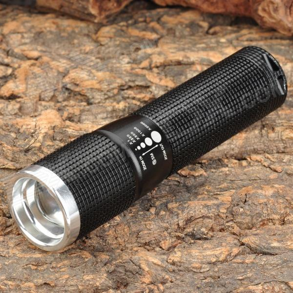 Wolf-Eyes 00256 Mini 210lm 3-Mode Memory White Zooming Flashlight - Black (1 x AA)