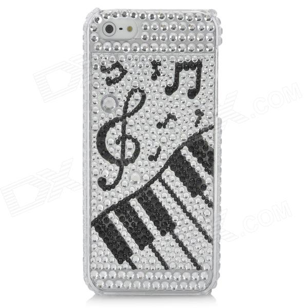 Music Piano Pattern Protective CrystalPlastic Back Case for Iphone 5 - Black + Silver protective bling bling crystalplastic back case for iphone 4 4s white