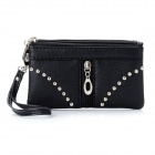 Cool Punk 369 Style Rivet Studded Three-Zipper Wallet w/ Strap - Black (Free Size)