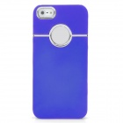 Protective Silver Plated Plastic Back Case for Iphone 5 - Blue