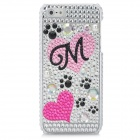 Footprint + Lover Heart Pattern Protective CrystalPlastic Back Case for Iphone 5