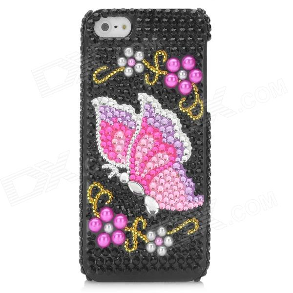 Fashion Butterfly Pattern Protective CrystalPlastic Back Case for Iphone 5 butterfly bling diamond case