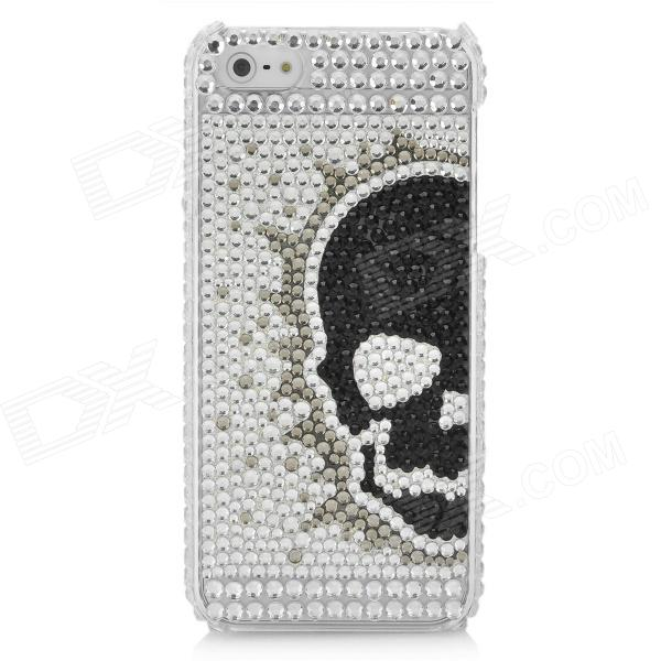 Fashion Protective CrystalPlastic Back Case for Iphone 5 - White + Black protective bling bling crystalplastic back case for iphone 4 4s white