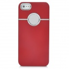 Protective Silver Plated Plastic Back Case for Iphone 5 - Red