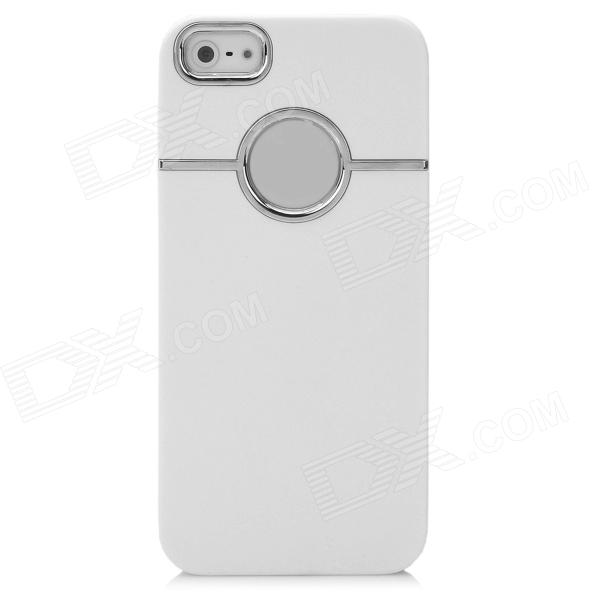 Protective Silver Plated Plastic Back Case for Iphone 5 - White kavaro plated slim plastic case for iphone 6s 6 lacework gold