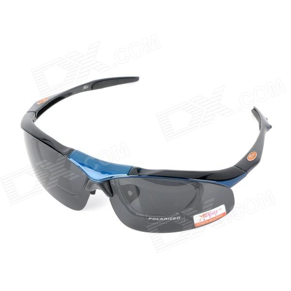 Panlees SP006 Cycling Polarized Goggles Glasses w/ Interchangeable Lens Set - Black + Blue