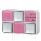 Eye Shadow Design All-in-one USB 2.0 Card Reader - Silver + Pink
