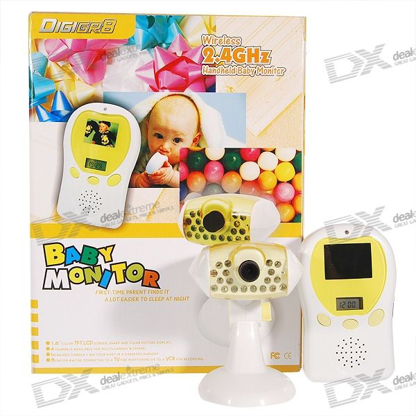"2.4GHz Wireless Baby Monitor with Audio Visual Night Vision Camera + 1.8"" LCD Receiver (230V AC)"
