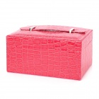 Protective Alligator Pattern PU Leather Cosmetic Jewelry Storage Case - Deep Pink