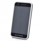 3600mAh Solar Powered Rechargeable Emergency Charger w/ Flashlight + Mobile Phone Adapters - Black