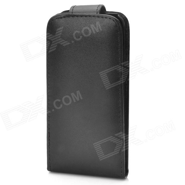 Protective Flip-Open PU Leather + ABS Case for Iphone 5 - Black protective pu leather flip open case for iphone 4 4s black