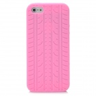 Protective Silicone Tire Grain Back Case Cover for iPhone 5 - Pink