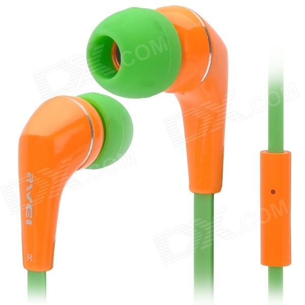 Awei Q7i Stylish In-Ear Earphone with Microphone for Iphone / Ipad + More - Orange + Green awei stylish in ear earphone with microphone for iphone ipad more black 3 5mm plug