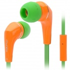 Awei Q7i Stylish In-Ear Earphone with Microphone for iPhone / iPad + More - Orange + Green