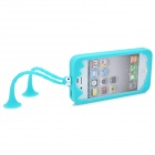 C.Two Grasshopper Silicone Bumper Frame Cover w/ Suction Cup Antennas for Iphone 4 /4S - Cyan