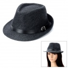 Woven Straw Jazz Hat - Black