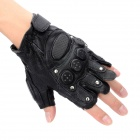 Tactical Series Half-Finger Gloves with Studs - Black (Pair / Size XL)