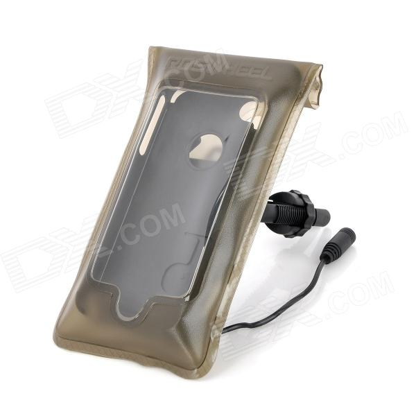 Roswheel TPU Waterproof Bicycle Mobile Phone Bag w/ Plastic Case for Iphone 4 / 4S - Light Coffee
