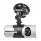 "X3000 2.7"" TFT LCD Dual-Lens Wide Angle Digital Car DVR Camcorder with GPS Tracker - Silver + Black"