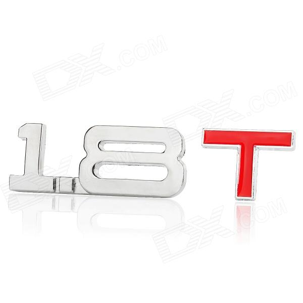 3D Cool 1.8 T Style Chrome Alloy Car Decoration Sticker - Silver + Red