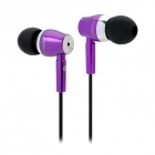 JBM MJ800 Stylish In-Ear Earphone for MP3 / MP4 / Cell Phone - Purple (3.5mm Plug)