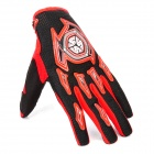 Scoyco A012-XL Sporty Full-Finger Motorcycle Gloves - Black + Red (Pair / Size XL)