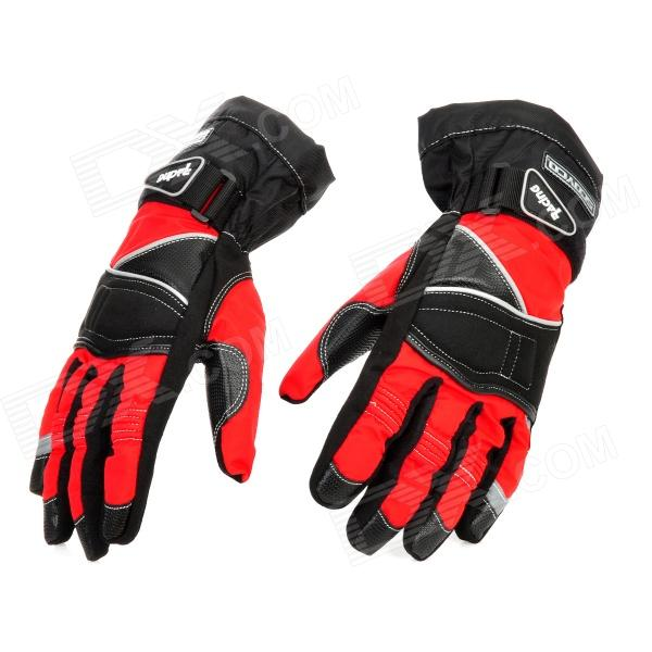 Scoyco MC15-XL Water Resistant Full-Fingers Motorcycle Gloves - Red + Black (Pair / Size XL)