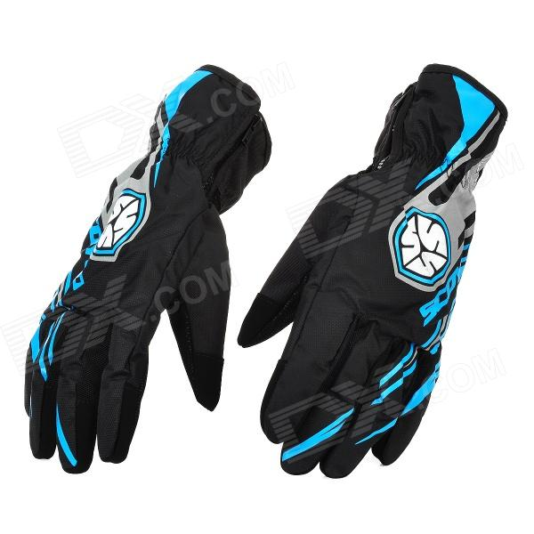 Scoyco MC16 Water Resistant Full-Fingers Motorcycle Gloves - Blue + Black (Pair / Size L) m09 motorcycle bicycle water resistant holder stand for iphone 4 4s black