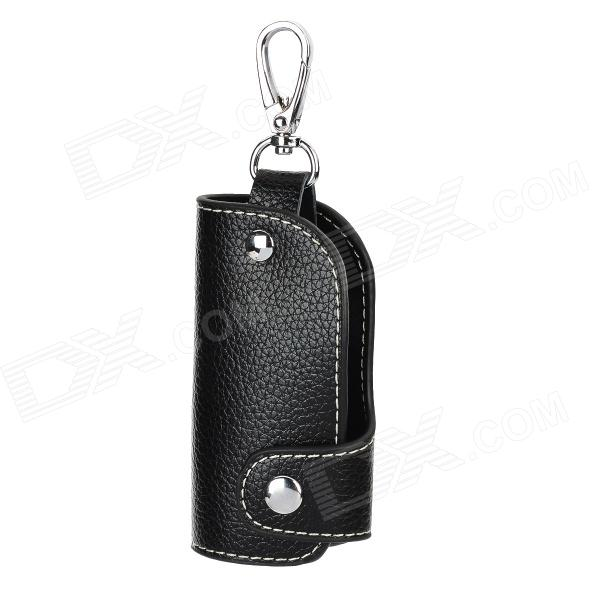 CT002 Universal Genuine Leather Protective Pouch Keychain for Car Smart Key - Black