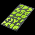 Arabic Number Arithmetic and Money Sign Luminous Stickers - Fluorescence Green